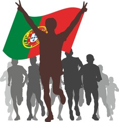 Winner with the Portugal flag at the finish