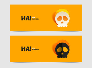 Set of two vector banners with carved skull