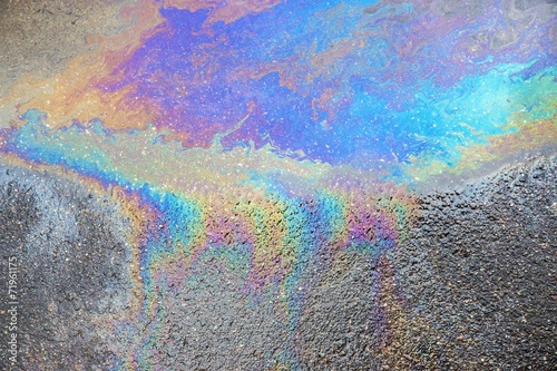 abstract pattern of an oil or petrol slick - 71961175