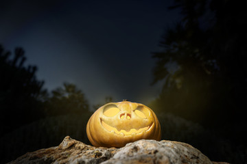 Halloween pumpkin on a rock in the darkness