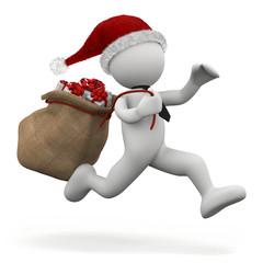 omino bianco che corre con sacco regali