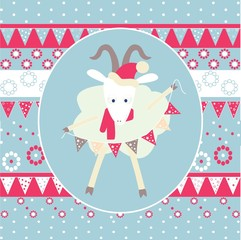 """Christmas illustration """" goat with a garland"""""""