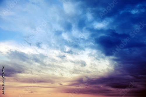 Dark colorful stormy sky with cloud