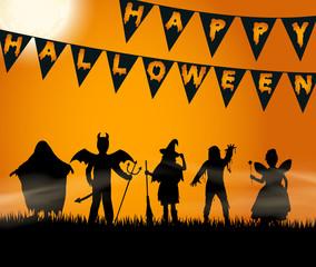 Halloween - verkleidete Kindersilhouetten - trick or treat