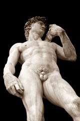 Florence, Italy,Michelangelo's David. On black background