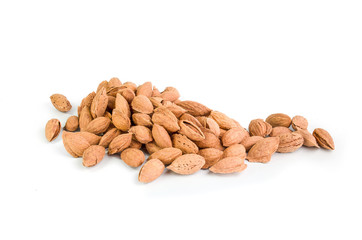 Almond nuts isolated on a white background.