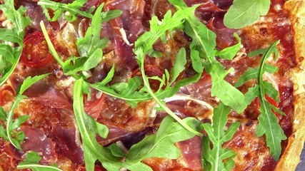 Homemade Ham Pizza with Rocket (seamless loopable)