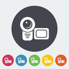 Video camera single flat icon.