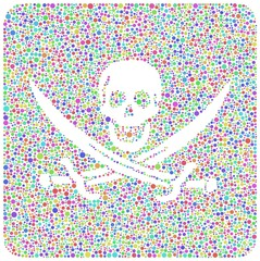 Pirate flag revisited in a mosaic of harlequin bubbles