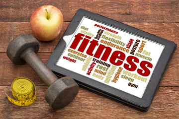 fitness word cloud on a tablet