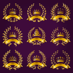 Luxury gold labels with laurel wreath