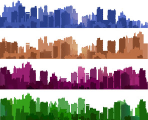 City silhouettes of different colors on white