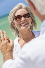 Happy Senior WOman Man Couple On Tropical Beach
