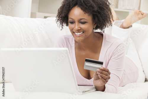 canvas print picture African American Girl Laptop Computer Shopping On Line