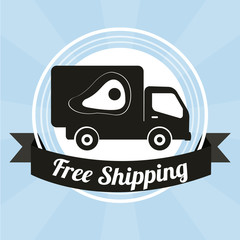 shipping illustration over blue  color background