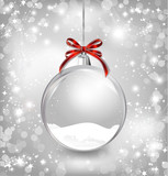 Fototapety Empty snow-globe with red bow. Vector