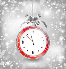 Luxury background with New year clock in Christmas ball, bow and