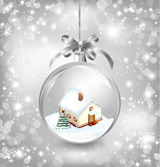 Glass ball Christmas with a little house, snow, fir tree and