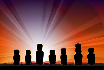 Easter Island Monument Statues Moai in Beams Of Sun