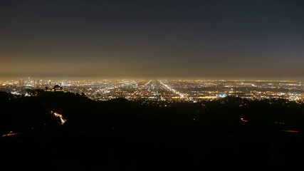 Los Angeles dusk to night time lapse.