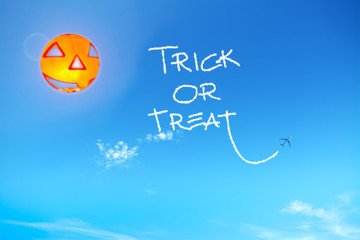 trick or treat in the blue sky