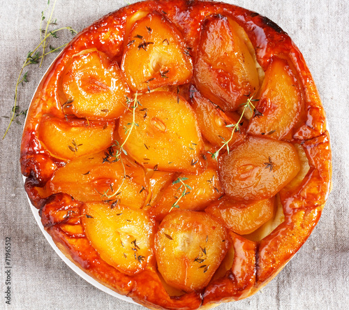 canvas print picture Tarte Tatin with pears and thyme