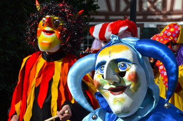 A colorful parade of carnival masks in Riehen, Switzerland