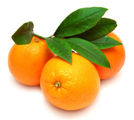 Sweet orange fruit with leaf