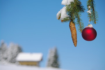 Christmas bauble outside