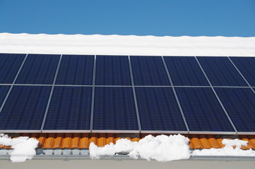 Solar roof in winter