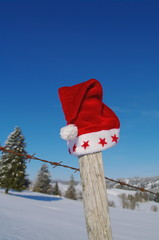 Santa Claus Hat on fence