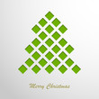 Christmas card with a green abstract tree