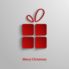 Christmas card with red gift on white ackground