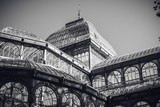Detail of Crystal Palace in Retiro park of Madrid, in black and