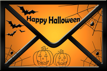 Sobre, Halloween, tarjeta, fondo, ilustración