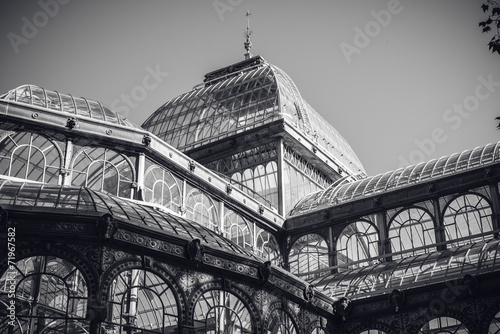 Aluminium Madrid Detail of Crystal Palace in Retiro park of Madrid, in black and