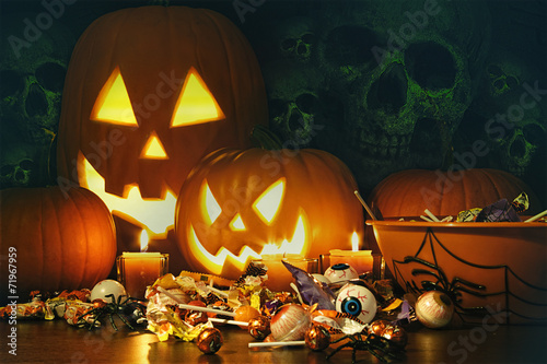 canvas print picture Candy treats and pumpkins