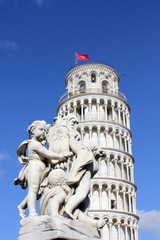Pisa Leaning tower, and angel statue detail