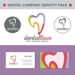Abstract vector dental identity concept. Logotype template for