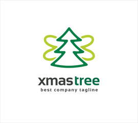 Abstract vector xmas tree with wings logo icon concept. Logotype
