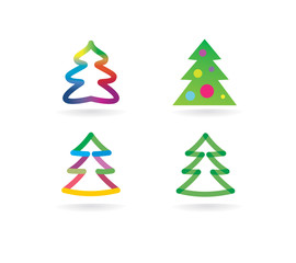 Abstract vector xmas tree icon set concept. Logotype template