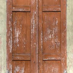 Part of vintage old wood closed window