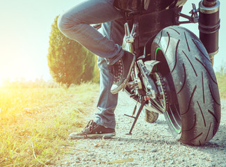 biker taking a break