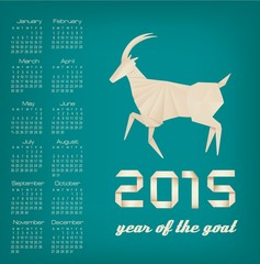2015 year of the goat calendar. Vector
