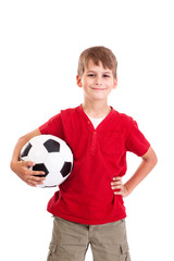 Cute boy is holding a football ball. Soccer ball