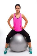 Mulher a Fazer Exercício com Bola