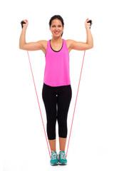 Mulher a Fazer Exercício com Elásticos