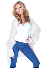Smiling Attractive Female in Knit Cardigan Outfit