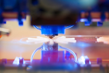 Closeup of 3D printer printing