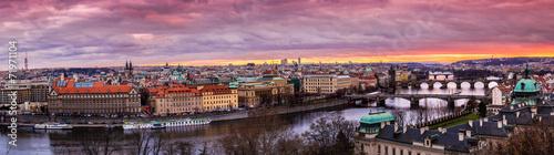 Fototapeta Bridges in Prague over the river at sunset